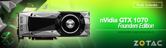 Scheda Video nVidia Zotac GTX 1070 Founders Edition 8GB DDR5 3xDP HDMI DVI-D [ZT-P10700A-10P]